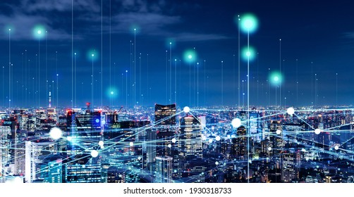 Modern cityscape and communication network concept. Telecommunication. IoT (Internet of Things). ICT (Information communication Technology). 5G. Smart city. Digital transformation. - Shutterstock ID 1930318733