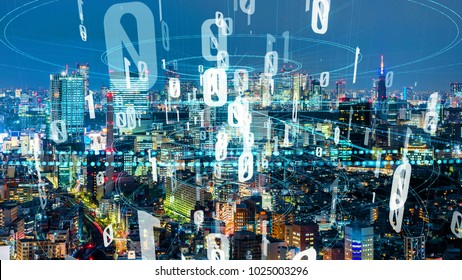 Modern cityscape and digital transformation concept. Smart city.