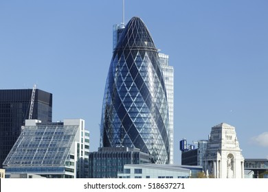 Modern cityscape of London (Europe) with blue sky.