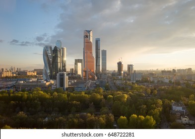 Modern Cityscape. Moscow-city, Russia. Moscow International Business Center. at Sunset.