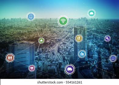 modern cityscape and wireless communication network concept, IoT(Internet of Things), Smart City, Smart Grid, Smart Transportation, abstract image visual