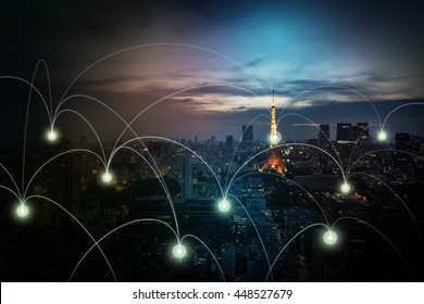 modern cityscape and wireless sensor network, sensor node and connecting line, Information Communication Technology, internet of things, abstract image visual