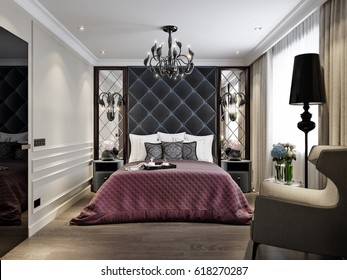 Modern Classic Art Deco Bedroom Interior Design with Upholstered headboard, Mirror Panels and Elegant Furniture. 3d illustration