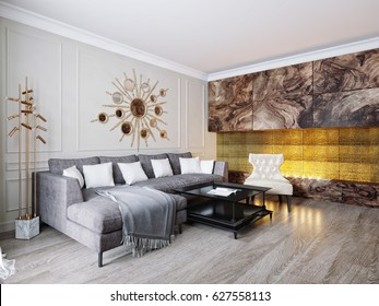 Modern Classic Beige Gray Living Room Interior Design with Large Gray Suede Sofa and Modern Fireplace with Gold Tiles. 3d rendering