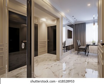 Modern Classic Kitchen Interior Design with Gray and Beige Facades, Dining Area, White Marble Floor, Beige Walls Decorated with Moldings. 3d render