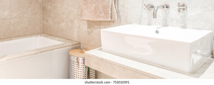 Modern clean bathroom, cover banner