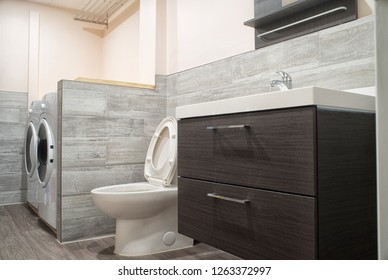 Modern and clean bathroom in luxury apartment