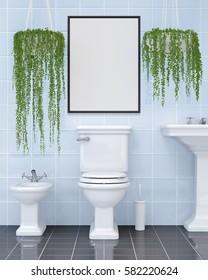 Modern clean bathroom mockup 3d illustration