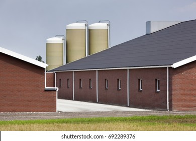 Modern and clean brick farm building in the Netherlands