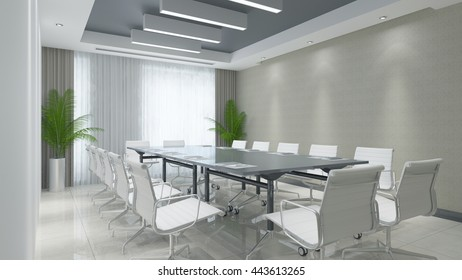 Modern clean business conference room with table and chairs (3D Rendering)