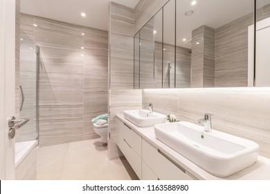 Modern clean empty bathroom