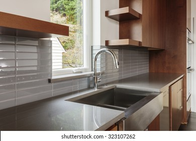 Modern clean kitchen sink