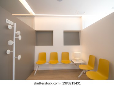 Modern and clean waiting room of a private clinic with copy space.