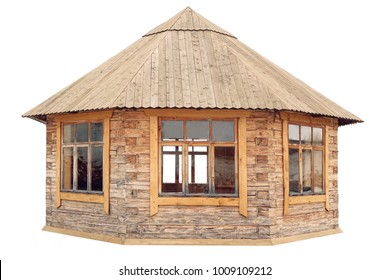 Modern Closed Wooden Pavilion Or Gazebo Isolated On White Background, Rustic Style Design, Close Up