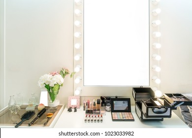 Modern closet room with make-up vanity table, mirror and cosmetics product in flat style house.