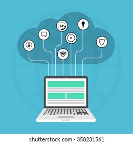 modern cloud services flat background. Laptop with icons on blue
