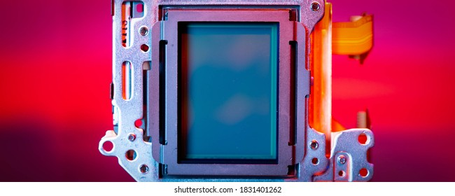 modern CMOS  camera Image sensor. digital dslr camera cmos sensor removed from camera.