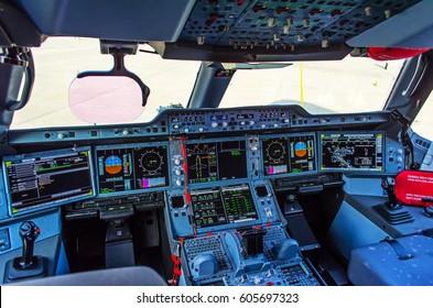 Modern cockpit in the passenger air liner.
