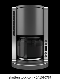 modern coffee machine isolated on black background