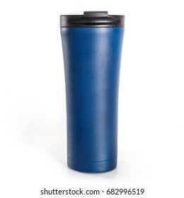Modern coffee tumbler thermos isolated on white background
