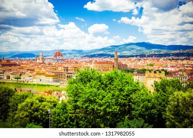 Modern colorful aerial view Florence Firenze on blue backdrop. Famous european travel destination. Beautiful architecture. Italian renaissance church. Summer landscape. Florence, Tuscany, Italy