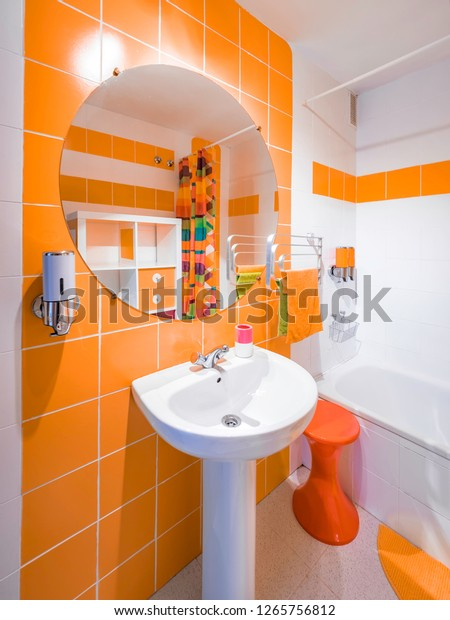 Modern Colorful Bathroom Interior Decoration Orange Interiors Stock Image 1265756812