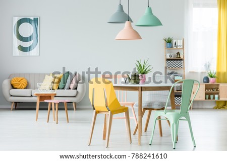 Modern Colorful Chairs Dining Table Under Stockfoto Jetzt