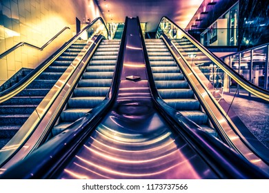 Modern colorful escalator