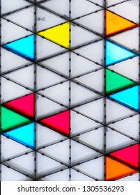 Modern and colorful glass roof with triangular pattern