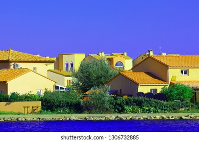 Modern and colorful house in a mediterranean seaside town, Southern of France