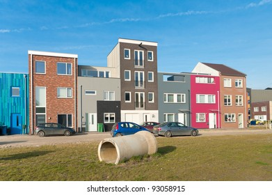 modern colorful houses in Almere, Netherlands