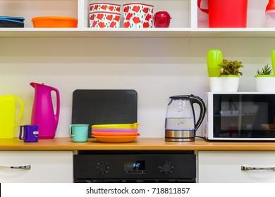 Modern colorful kitchen interior