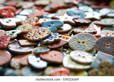 Modern, colorful, trendy buttons for dress making, sowing and needle crafts.