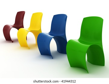 Modern Colorized Chairs isolated on white