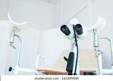 Modern colposcope in gynecologist's office