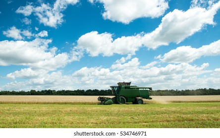 modern combine harvester working on a wheat crop