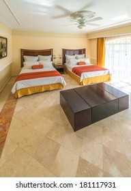 Modern comfortable and elegant bedroom of the luxury Caribbean, mexican hotel. Interior design.
