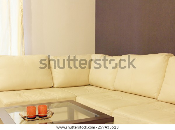 Superb Modern Comfortable White Leather Corner Sofa Stock Photo Pabps2019 Chair Design Images Pabps2019Com
