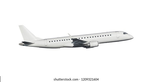 Modern commercial airplane isolated on white background with path