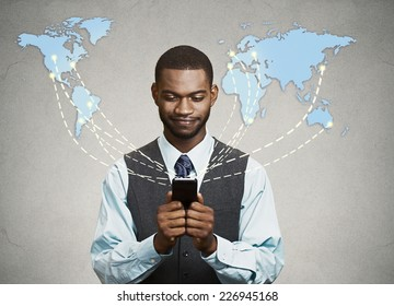 Modern communication technology mobile phone high tech, wide web connection concept. Business man holding smartphone connected browsing internet worldwide world map background. 4g data plan provider