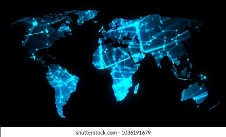 Modern communications network map of the world on dark background, 3D rendering backdrop