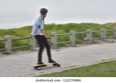 modern commute on electric skateboard in city urban transportation battery powered vehicle