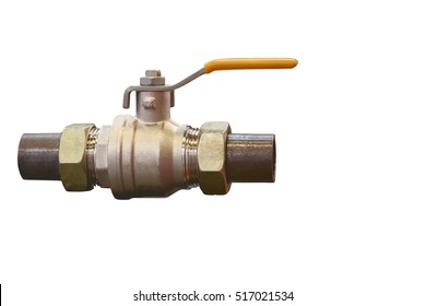 modern compact locking devices ensure reliable operation of various control systems of gas supply/Gas valve for gas pipelines closeup isolated on white background