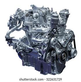 Motor moderno turbo diesel compacto aislado en blanco