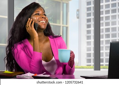 modern company corporate portrait of young happy and attractive black african american business woman working at financial business district building by office window in work success