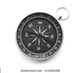 Modern compass on white background