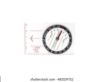 Modern compass with scales and rules isolated on white background