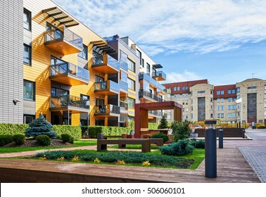 luxury apartments exterior. Modern Complex Of Apartment Residential Buildings  With Many Benches And Outdoor Facilities Luxury Apartment Exterior Images Stock Photos Vectors Shutterstock