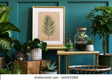 Modern composition of home garden filled a lot of beautiful plants, cacti, succulents, air plant in different design pots. Stylish botany interior.  Mock up poster frame.  Home gardening concept - Shutterstock ID 1624191004