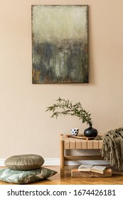 Modern composition of living room with design chaise longue, pillows, mock up paintings, flowers in vase and elegant personal accessories in stylish orietnal concpet of home decor.